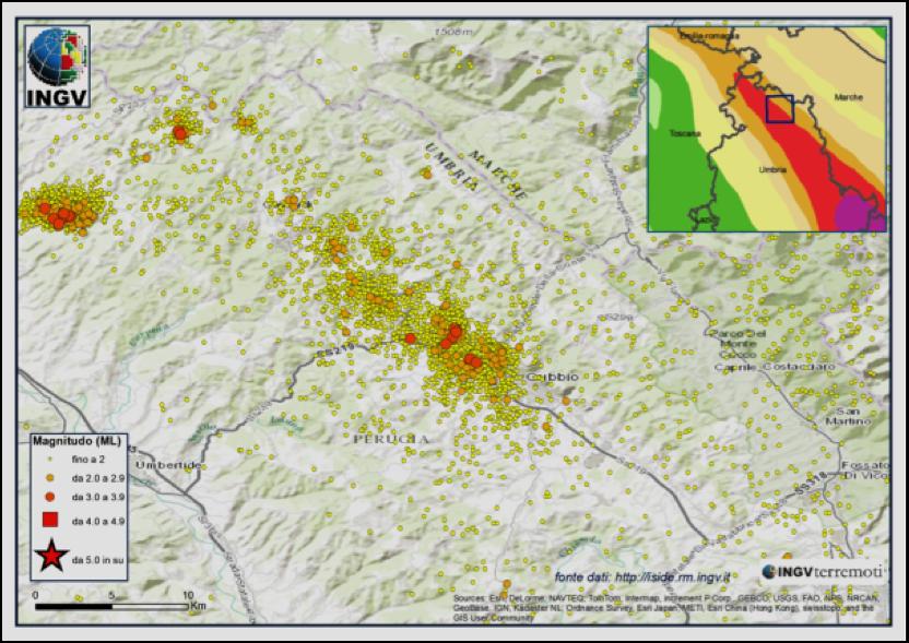 Figura 1: Sismicità registrata nell'area – anno 2013 (Fonte INGV)