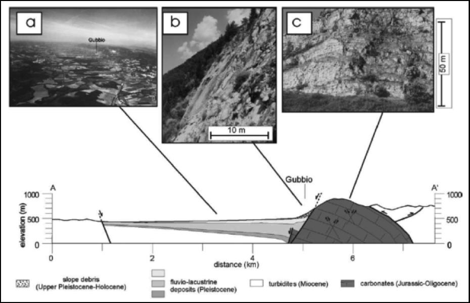 Figura 4: Sezione geologica con in alto: a) veduta aerea del bacino; b) la faglia in affioramento; c) deformazione estensionale nel blocco a monte della faglia (mod. da Collettini et al., 2003).