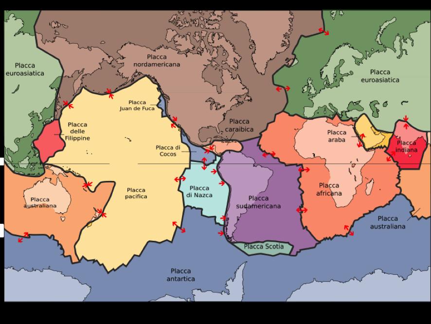 Le placche continentali. La teroria di Wegener è del 1912, anche se si basa su studi della fine del XIX secolo e fu ridicolizzata per decenni prima di essere accettata.