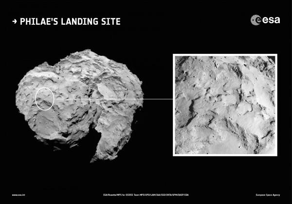 """La cometa 67P/Churyumov-Gerasimenko e un ingrandimento dell'area dove Philae tenterà di """"atterrare""""."""