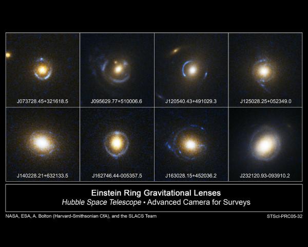 """Alcuni esempi di """"cerchi di Einstein"""" in immagini ottenute dal telescopio spaziale Hubble"""