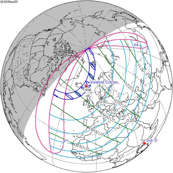 Mappa della visibilità dell'eclissi solare del 20 marzo 2015