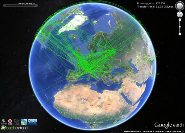 Il traffco della Grid in tempo reale su GoogleMaps: oltre 200000 job in contemporanea e 11GB/s di traffico complessivo