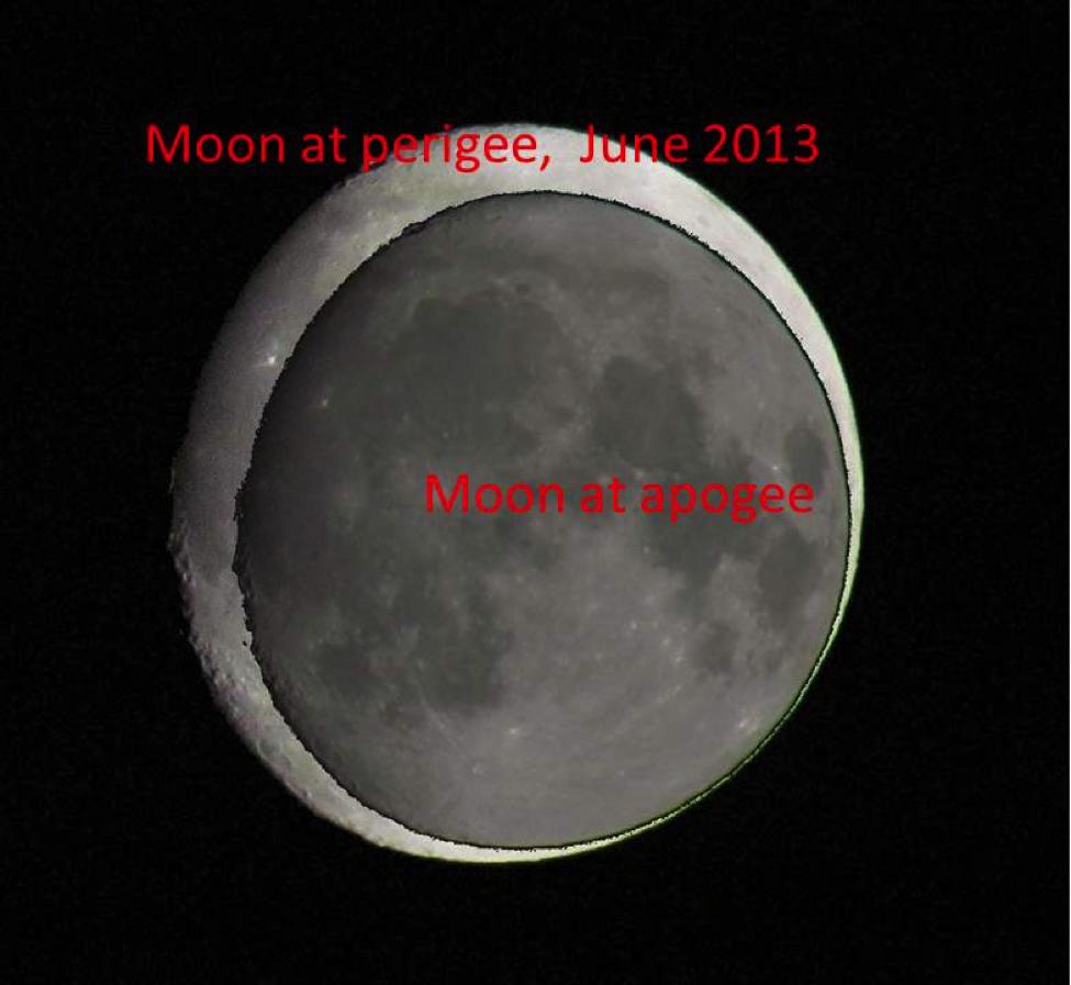 Confronto tra la luna al massimo ed al minimo avvicinamento nel 2013