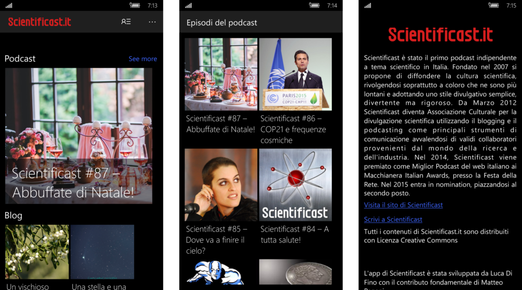 Alcune schermate della versione per smartphone.