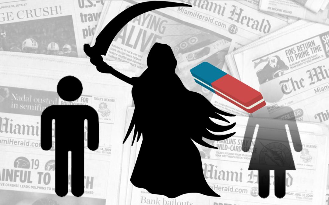 Le morti femminili cancellate dai giornali
